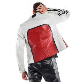 TOGA72 LEATHER JACKET WHITE-S/RED