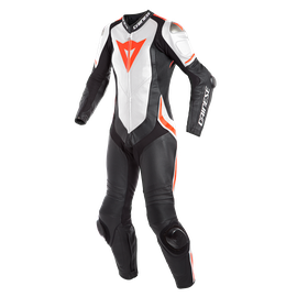 LAGUNA SECA 4 1PC PERF. LADY LEATHER SUIT BLACK/WHITE/FLUO-RED- One Piece Suits
