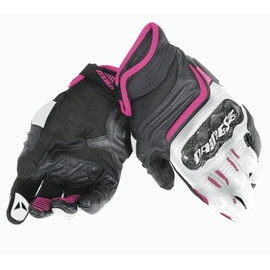 CARBON D1 SHORT LADY GLOVES BLACK/WHITE/FUCHSIA- Leather