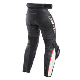 DELTA 3 PERF. LEATHER PANTS BLACK/WHITE/RED- Cuir
