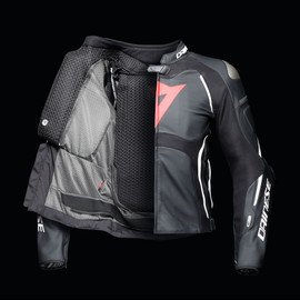 TUONO D-AIR PERF. LEATHER JACKET BLACK/WHITE/FLUO-RED- D-air