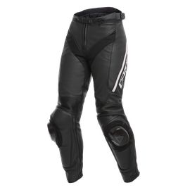 DELTA 3 PERF. LADY LEATHER PANTS BLACK/BLACK/WHITE- Cuir