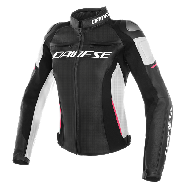 RACING 3 PERF. LADY LEATHER JACKET BLACK/WHITE/FUCHSIA- Piel