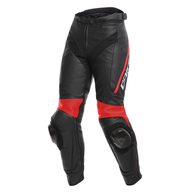 DELTA 3 LADY LEATHER PANTS BLACK/BLACK/FLUO-RED- Cuir