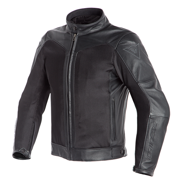 CORBIN D-DRY LEATHER JACKET BLACK/BLACK- Leather