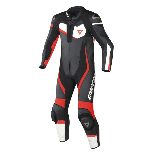 VELOSTER 1 PIECE PERFORATED SUIT BLACK/WHITE/FLUO-RED