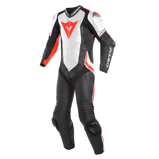 LAGUNA SECA 4 1PC PERF. LEATHER SUIT BLACK/WHITE/FLUO-RED- Professionnelles