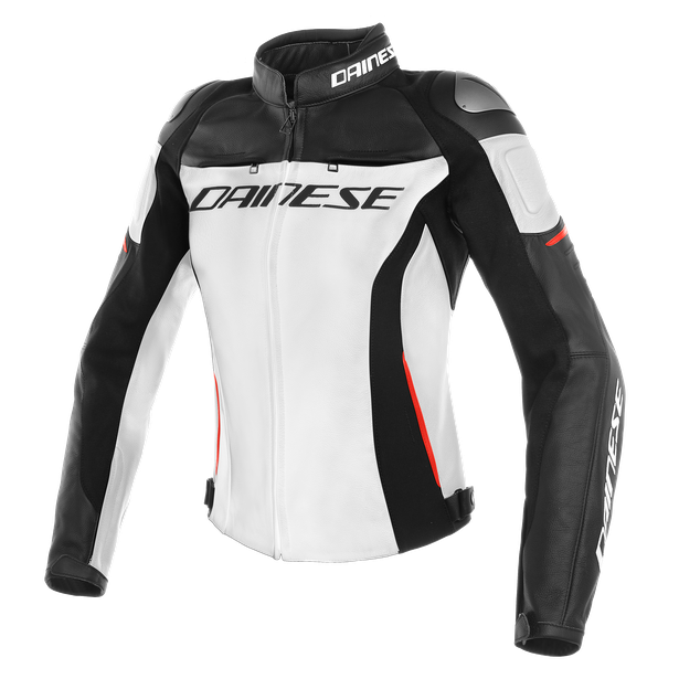 RACING 3 LADY LEATHER JACKET WHITE/BLACK/RED- Pelle