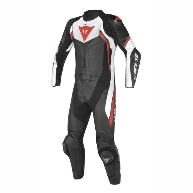 AVRO D2 2PCS PERFORATED SUIT BLACK/WHITE/RED-FLUO- undefined