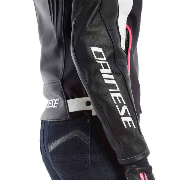 RACING 3 LADY LEATHER JACKET BLACK/WHITE/FUCHSIA- Cuir
