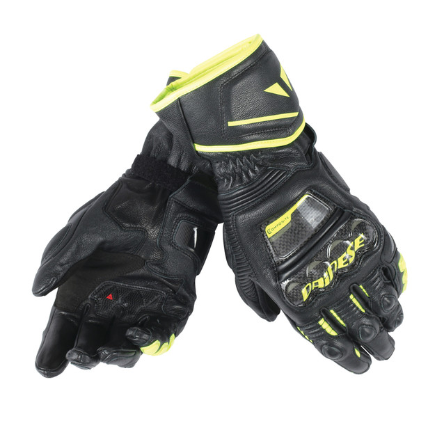 DRUID D1 LONG GLOVES BLACK/BLACK/FLUO-YELLOW- Leather