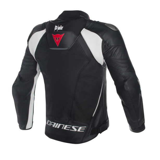 Misano D-air® jacket BLACK/BLACK/WHITE- Leder