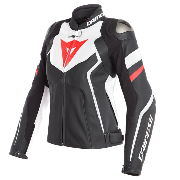 AVRO 4 LADY LEATHER JACKET BLACK-MATT/WHITE/FLUO-RED- Leather