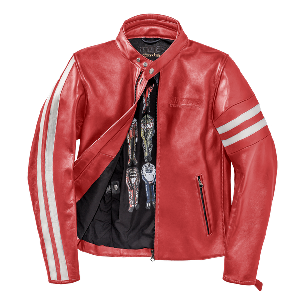 FRECCIA72 LEATHER JACKET RED/WHITE-S