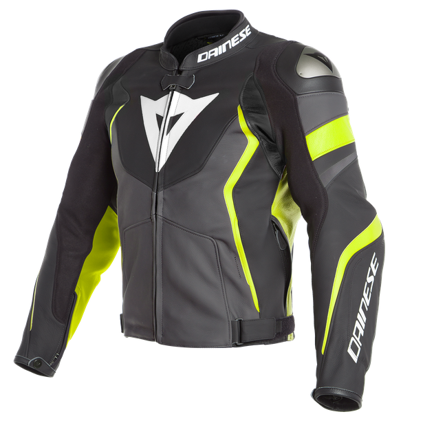 AVRO 4 LEATHER JACKET BLACK-MATT/CHARCOAL-GRAY/FLUO-YELLOW- Cuir