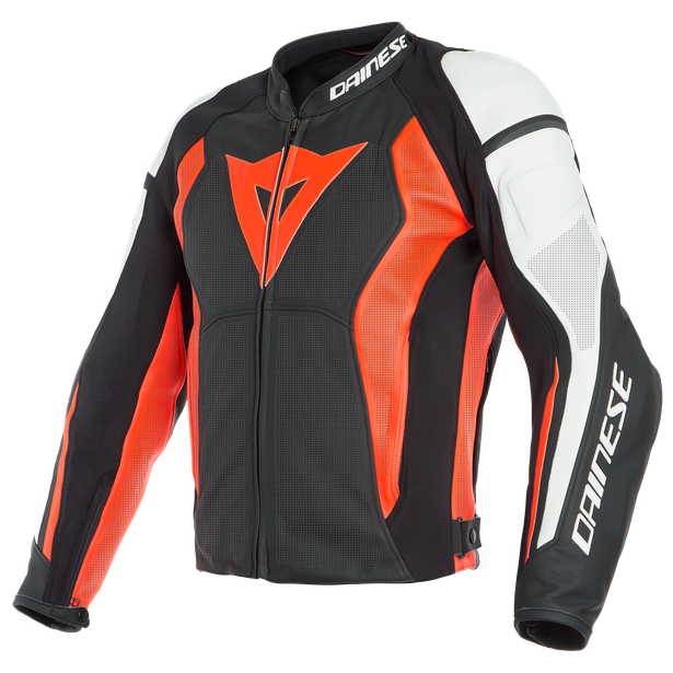 NEXUS LEATHER JACKET PERF. BLACK/FLUO-RED/WHITE- Leder