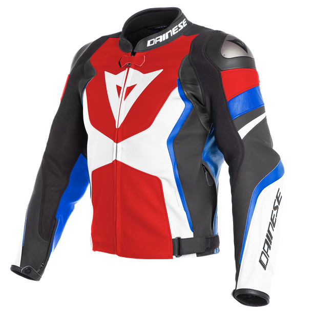 AVRO 4 LEATHER JACKET LAVA-RED/WHITE/AZZURRO-S- Leather