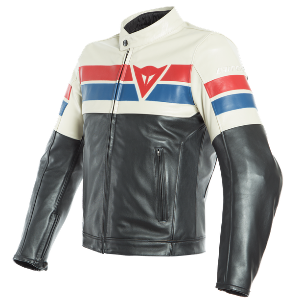 8-TRACK LEATHER JACKET BLACK/ICE/RED- Cuir