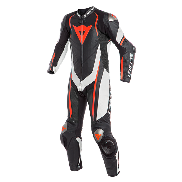 KYALAMI  1PC PERF. LEATHER SUIT BLACK/WHITE/FLUO-RED- Professionnelles