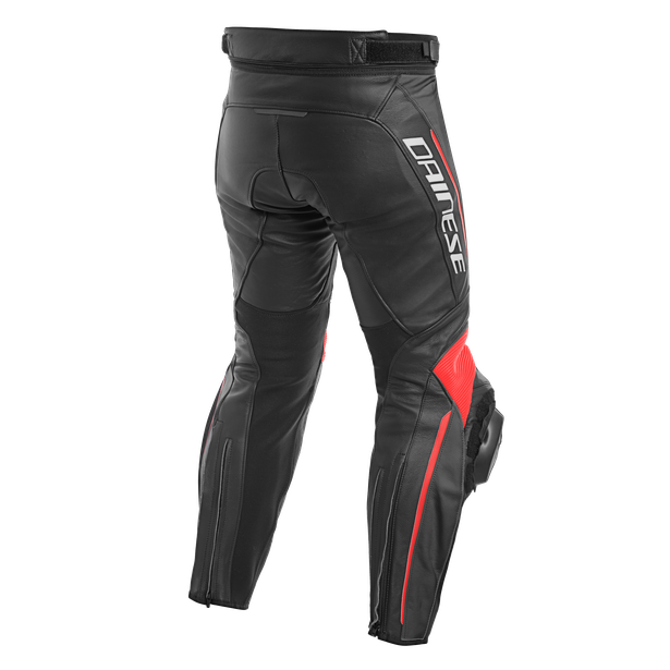 DELTA 3 PERF. LEATHER PANTS BLACK/BLACK/FLUO-RED