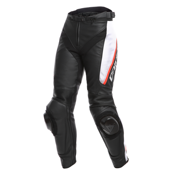 DELTA 3 LADY LEATHER PANTS BLACK/WHITE/RED