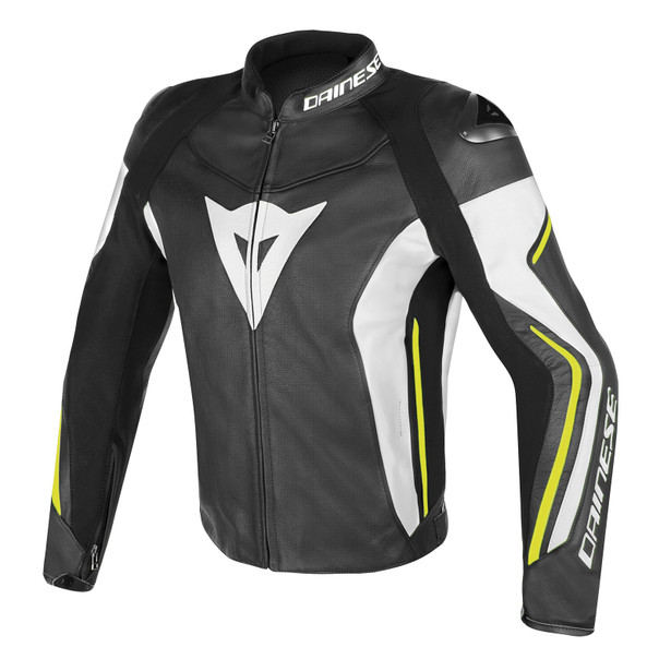 ASSEN PERFORATED LEATHER JACKET BLACK/WHITE/YELLOW-FLUO