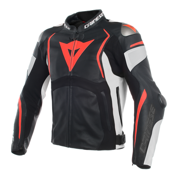 MUGELLO LEATHER JACKET BLACK/WHITE/FLUO-RED