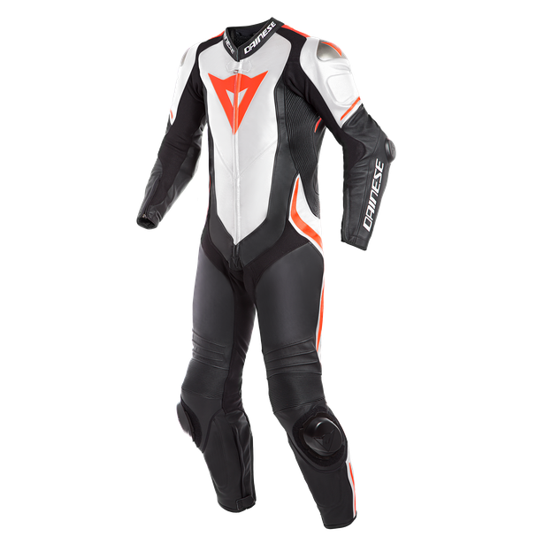 LAGUNA SECA 4 1PC LEATHER SUIT BLACK/WHITE/FLUO-RED