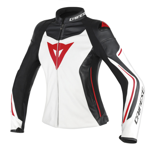 ASSEN LADY LEATHER WHITE/BLACK/RED-LAVA- Leather