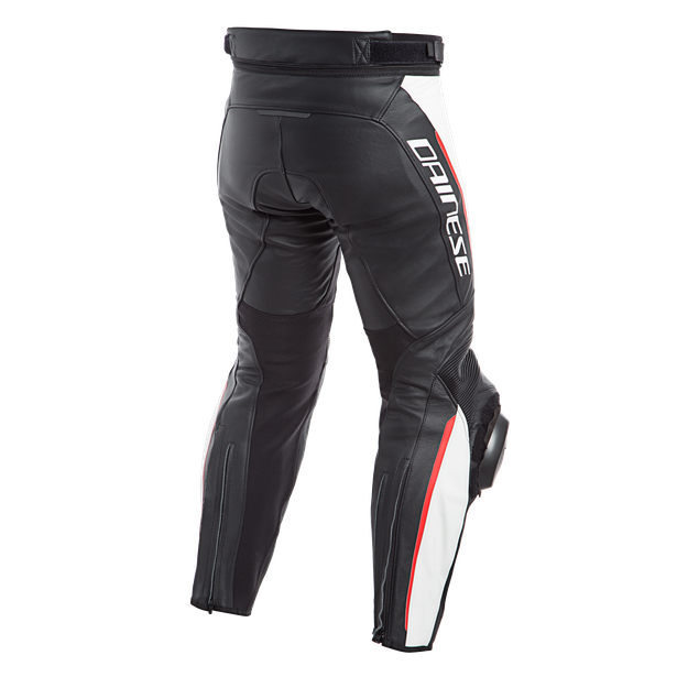 DELTA 3 PERF. LEATHER PANTS BLACK/WHITE/RED- Leder