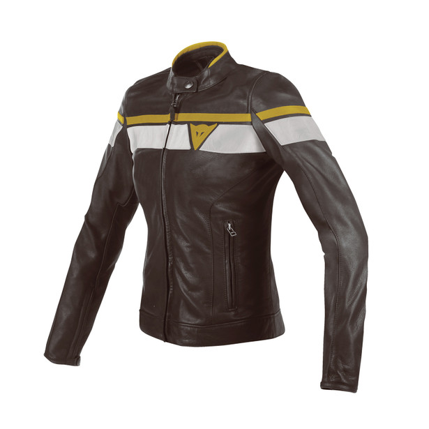 BLACKJACK LADY LEATHER JACKET DARK-BROWN/WHITE/GOLD