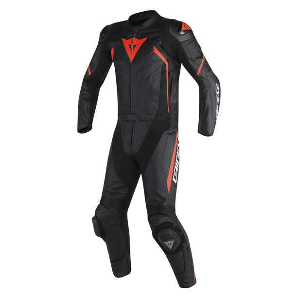 AVRO D2 2PCS SUIT BLACK/BLACK/RED-FLUO- Zweiteiler
