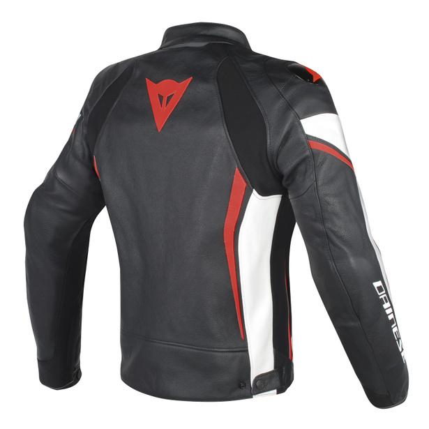 ASSEN LEATHER JACKET BLACK/WHITE/RED-FLUO- Jackets