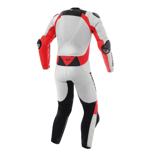Misano D-air® Perforated suit WHITE/FLUO-RED/BLACK- Motorbike