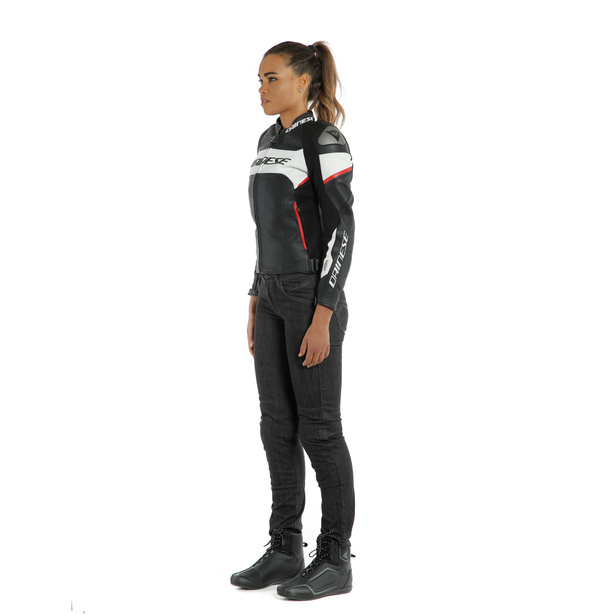 RACING 3 D-AIR LADY LEATHER JACKET BLACK/WHITE/LAVA-RED- D-air