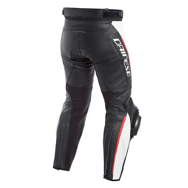DELTA 3 LEATHER PANTS BLACK/WHITE/RED- Leder